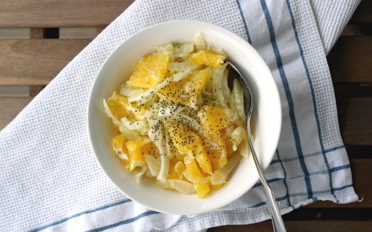 Insalata di finocchi e arance con semini