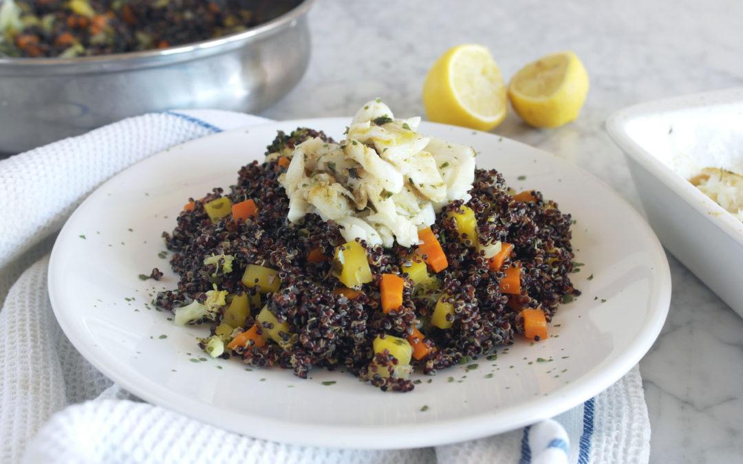 Quinoa con verdure e merluzzo al limone e cumino