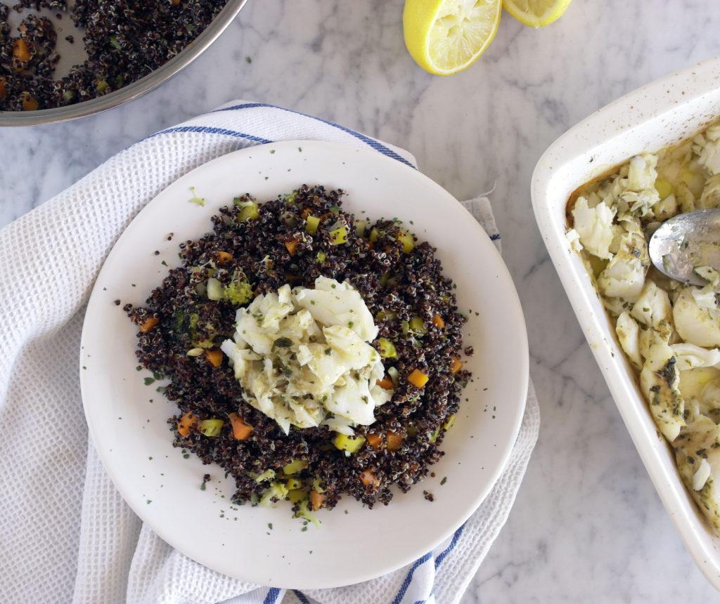 quinoa con verdure e merluzzo
