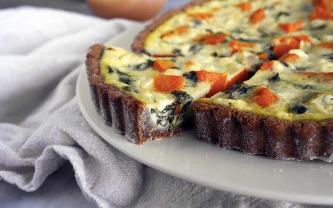 Torta salata invernale con bietole, zucca e feta